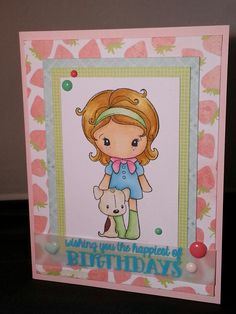 "A birthday card I made for a soon-to-be 11 year old girl. Used CC Design image ""Puppy Kiki"" and paper pad used is Dear Lizzy ""Neapolitan"""