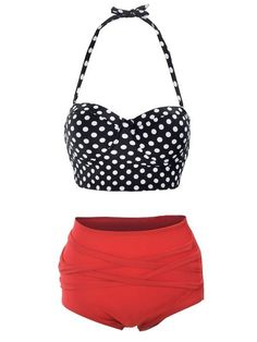 I want this in a different color, for real! Vintage 50s High Waist Bikini Set, Polkadots / Stripes