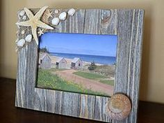 Rustic Beach style frame with natural starfish and seashells big and small.
