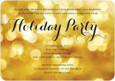 Party Glow - Corporate Holiday Party Invitations in Lemon Yellow. #HolidayParty