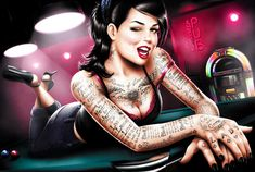Brazilian artist Tati Ferrigno is a rising star in the field of digital art, illustration, and character design. In addition to her international advertising work for brands like Miller and Halls, Ferrigno's signature style is her edgy, tattooed pin-up girls who often share a love for all things cute.