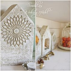 Smillas Wohngefühl: DIY: Betonhäuser mit und ohne Schnickschnack (use screws to hold in each side of your mold, so then to take out the cement, unscrew the sides. Able to re-use the form that way by re-screwing to the board! Concrete Crafts, Concrete Art, Concrete Projects, Concrete Planters, Fall Crafts, Diy And Crafts, Concrete Houses, Christmas Trends, Dollar Tree Crafts