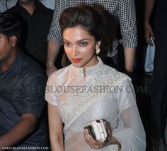 Deepika padukone in white formal classic wear designer saree