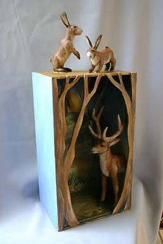 The Hart, The Hare - mixed media sculpture - by Susan McMahon, Susie McMahon Dolls