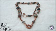 Natural Stone Beaded Copper Wire Link Love Knot by JewelryOfLife