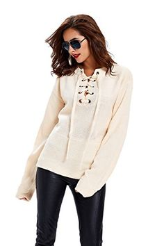 abbeae320a Apparel Women s Loose Long Sleeve Lace Up Knitted Sweater... Lace Up