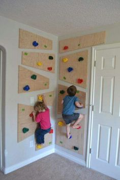 DIY climbing wall, to keep them active & occupied!  http://thecreatedhome.com/diy-climbing-wall/