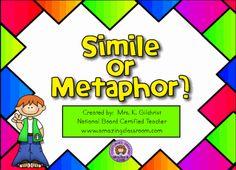 Identifying Simile or Metaphor Smart Notebook smartboard file