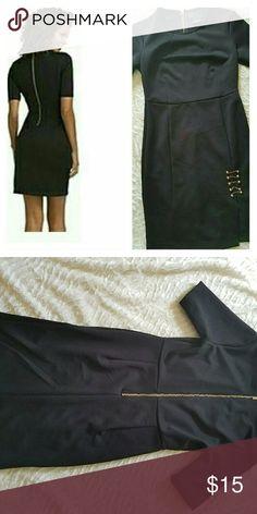 ??Kardashian Kollection black bodycon dress *size small *3/4 sleeve  *EUC Back gold zipper with front gold accents,  open front  slit Kardashian Kollection Dresses Midi