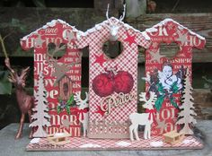 Made by Myra. with love: Kersthuisjes/Christmashouses Christmas Bird, Gingerbread, Holiday Decor, Journey, Artwork, Cards, Diy, Stamps, Design