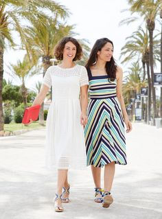 Notsuchamodelmum in Spain for DestinationBoden wearing matching dresses in stripe and broderie anglais