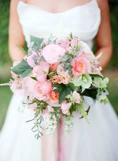 Garden Roses, Ranunculus, Hellebore, Sweet Pea, Lilac, Astilbe, Licorice Plant, Fern, Ivy, Lisianthus... Katie's Bouquet by Jarrad Lister Photography