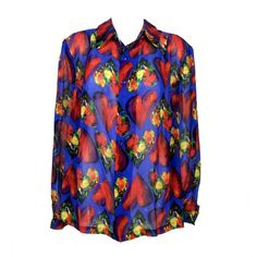Pre-owned Versace Silk Shirt - 1997 ($776) ❤ liked on Polyvore featuring tops, blouses, shirts, versace shirts, vintage shirts, blue silk blouse, sexy tops and loose blouse