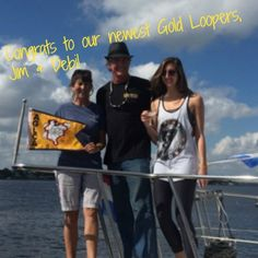 """Deb & Jim are our newest Gold Loopers! They call their Loop adventure the """"slowest ever"""" at 14 years! They finally crossed their wake 11/16 in Stuart FL and celebrated with friends on board and others at the dock.  """"We have done the Loop in sections, with 3/4 of it during the past three summers/fall (the first 11 years, we did the Southeast quadrant twice, just a week at a time). It is definitely time to celebrate with some bottles of bubbly!"""" www.GreatLoop.org"""