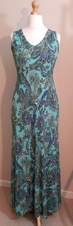 Kim & Co Brazil Knit Printed Sleeveless Maxi Dress, Size XS, Duck Egg, NEW #KimCo #MaxiDress #Casual