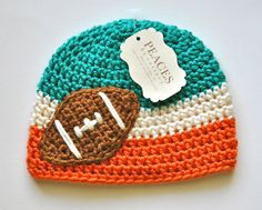 Aqua Green White & Orange Football Beanie Hat for Baby from Peaces by Cortney at www.etsy.com/shop/peacesbycortney