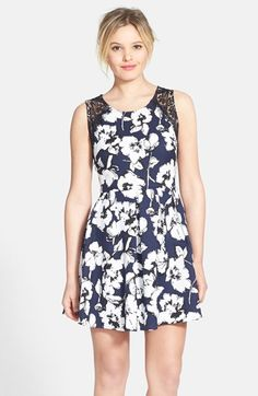 Lush Lace Trim Pleated Skater Dress (Juniors) available at #Nordstrom