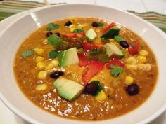 tortilla soup - vegetarian and can be made entirely in a vitamix. Also can be made smooth for kids.