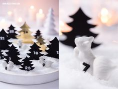 Adventskalender: Winterlandschaft Weiß/Gold & Porzellanfiguren