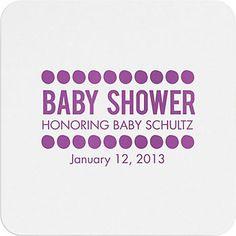 Baby Shower Dots Custom Coasters BABY SMITH due to arrive January 2014