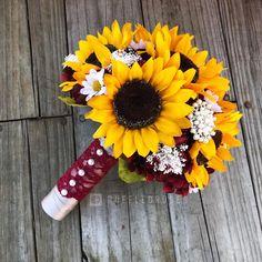 Burgundy Wine Sunflower Bouquet, Sunflower and Daisy Bouquet, Sunflower Wedding Bouquet is part of Sunflower wedding bouquet Ruffled Roses Phone 386 315 1187 - Maroon Wedding, Rose Wedding, Diy Wedding, Fall Wedding, Wedding Flowers, Dream Wedding, Wedding Ideas, Rustic Wedding, Wedding Stuff