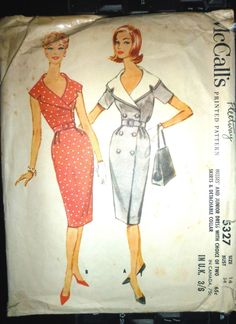 VINTAGE RARE 1960's McCALL'S OFFICE DRESS USED SEWING PATTERN SIZE 14 BUST 34"