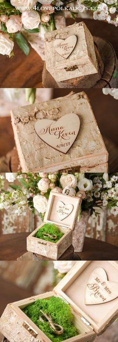 Wedding Birch Bark Ring Box || @4LOVEPolkaDots