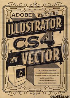 Vintage Ai Promo. Killer typographic poster art by Brazilian vector artist & illustrator Roberlan Borges Paresqui (aka ~roberlan). (via richardtherough)