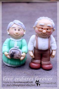 Cold Porcelain Clay - Grandpa and Grandma, see details on http://kurohouseofcraft.blogspot.com/2014/03/clay-grandpa-and-grandma-love-endures.html