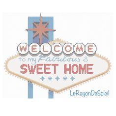 Modern cross stitch pattern Welcome Las Vegas style retro vintage on Etsy, 3,00 €