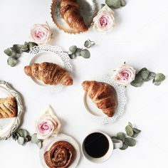 Breakfast with croissants by Floral Deco on @creativemarket