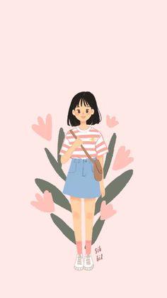 i love you drawings Cartoon Art Styles, Cute Art Styles, Cute Cartoon Wallpapers, Kawaii Wallpaper, Anime Art Girl, Cute Illustration, Aesthetic Art, Illustrations, Cute Drawings