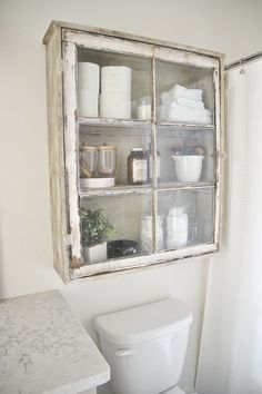 Upcycled Over-Toilet Bathroom Storage Cabinet using an old window. Rustic Farmho… Upcycled Over-Toilet Bathroom Storage Cabinet using an old window. Antique Windows, Old Windows, Vintage Windows, Old Window Projects, Home Projects, Old Window Ideas, Repurposed Window Ideas, Old Window Frames, Recycled Door