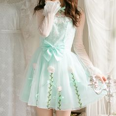 Light Green Bowknot Chiffon Dress KW179804