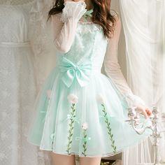 "Light green lolita bowknot chiffon dress SE9900      Coupon code ""cutekawaii"" for 10% off"