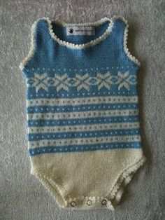 Norwegian Blogger: Knitting Baby Onesie with stranded elements.