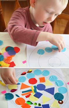 These fun and easy contact paper mandalas are quick to make and perfect for kids of all ages. Preschool Art, Toddler Preschool, Art For Kids, Crafts For Kids, Collages, Toddler Art, Creative Kids, Mandala Art, Art Education