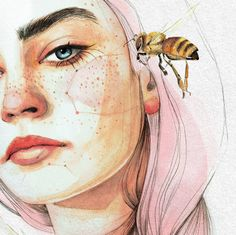 Imagem de art, girl, and aesthetic Art And Illustration, Illustrations, Portrait Illustration, Watercolor Illustration, Kunst Inspo, Art Inspo, Watercolor Drawing, Painting & Drawing, Bee Drawing