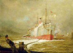 Docking A Cargo Ship Painting by William Lionel Wyllie