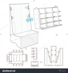 Product Display Stand With Shelf Compartments And Blueprint Layout Stock Vector Illustration 175401590 : Shutterstock