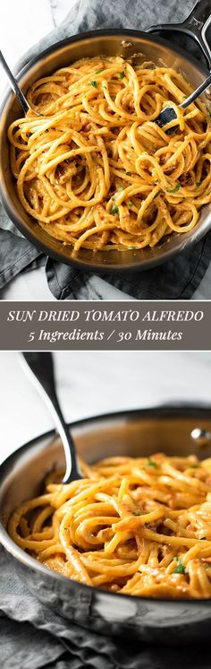 This sun dried tomato alfredo takes just 20 minutes and requires only 5 ingredients | girlgonegourmet.com via @Girl Gone Gourmet