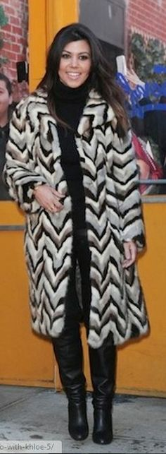 Kourtney Kardashian: Coat – vintage  Shirt and pants – Alice + Olivia  Gloves – Bottega Venetta  Purse – Chanel  Shoes – Hermes