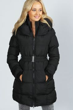Carrie High Neck Belted Padded Coat