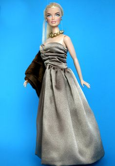 Barbie Clothes  Bronze Shimmer Gown and Faux by ChicBarbieDesigns, $20.99
