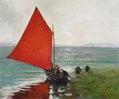 Connemara Hooker  -  Martin Driscoll   Irish Ireland Homes, Connemara, Irish People, Irish Art, Boat Painting, Emerald Isle, Art For Art Sake, Beautiful Paintings, Art Images