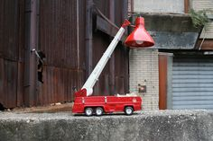 An Upcycled Toy Tonka Fire Truck Lamp, created by Film Biz Recycling Resident Artist, Dogtag.