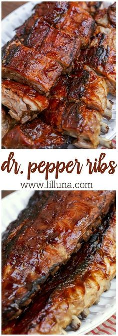 Pepper Ribs — Super simple fall-off-the-bone Dr. Pepper ribs - our new favorite way to make Ribs! — packed with lots of flavor - Dr. Pepper and BBQ sauce, these are a great summer recipe! Barbecue Recipes, Grilling Recipes, Pork Recipes, Cooker Recipes, Crockpot Recipes, Dishes Recipes, Weber Grill Recipes, Vegetarian Recipes, Slow Cooking