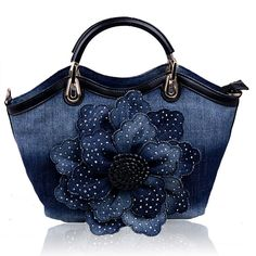 Kaxidy Ladies Girls Womens Denim Handbags Jean Flower Bag Shoulder Bag Shopper Messenger Tote Bags (Back): Handbags: Amazon.com