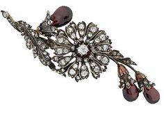 Victorian Garnet And Diamond Floral Brooch