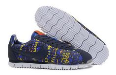 Nike Classic Cortez Nylon Mens Camo Purple Yellow Special Shoes